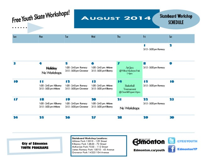 August 2014 Drop-In Skateboard Workshop Calendar