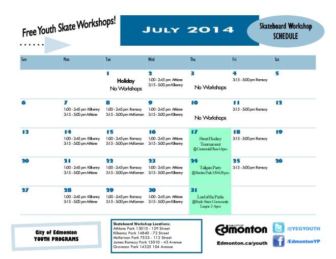 July 2014 Drop-In Skateboard Workshop Calendar